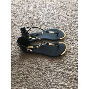 Black and Gold Gladiator Sandal- Size 8 1/2